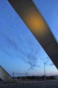 MB transporter bridge in distance tall
