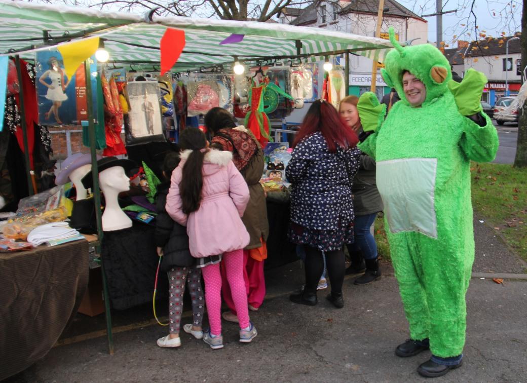 Maindee Xmas Market - stall and teletubby