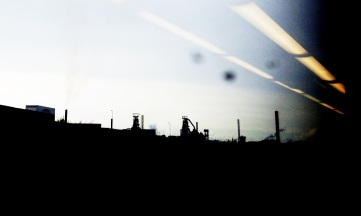 Steel works from train