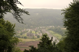 View of Tintern from Devils pulpit wide